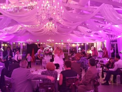 Michael Anthony Productions Elegant Customized Lighting Purple Lighted Vintage Wedding Saxon Manor Brooksville FL Wedding Up Lighting